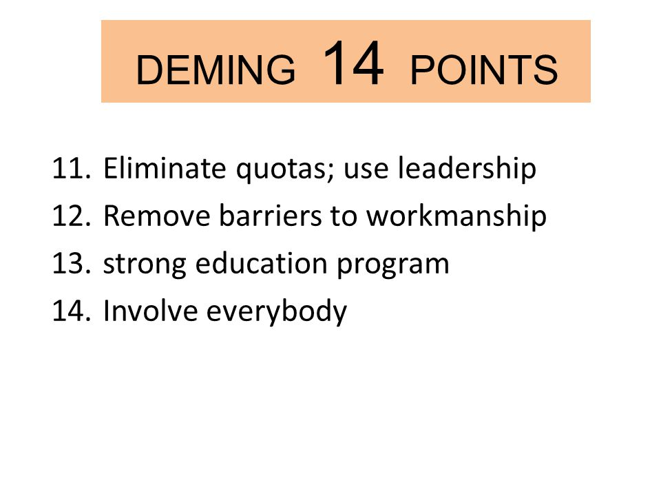 deming 14 points on mcdonalds An introduction to w edward deming's 14 points with introductions to lean manufacturing, continuous improvement and iot.