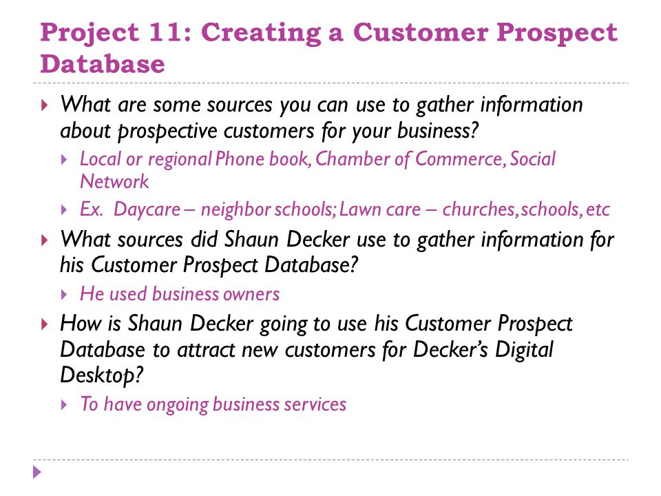 how to use information in database to gather new customers