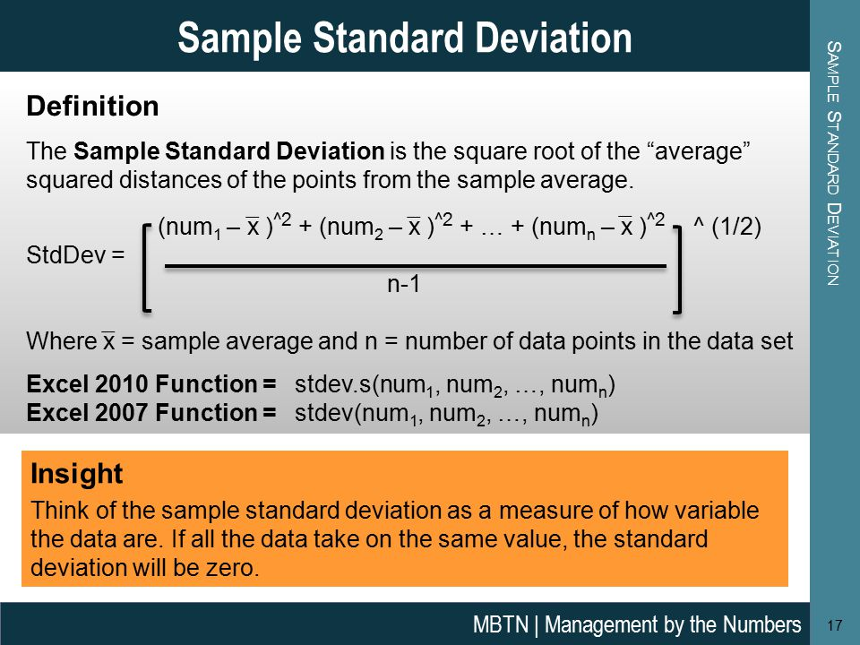 how to work one standard deviation