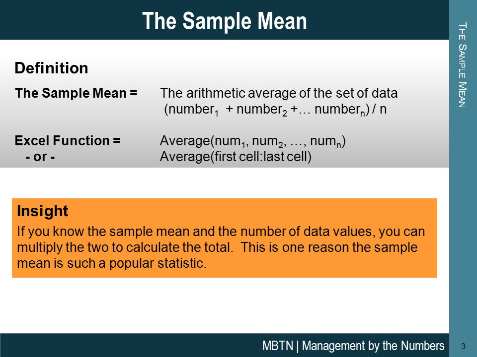 how to calculate sample mean in statistics