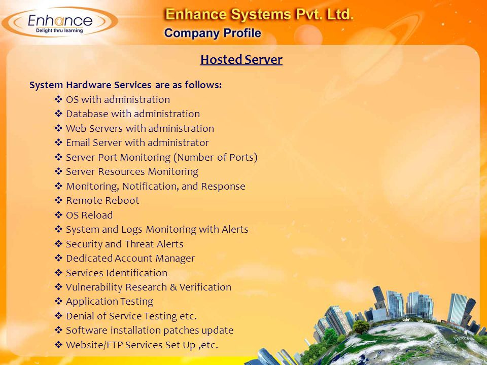 Hosted Server System Hardware Services are as follows: