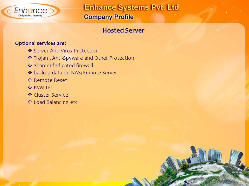 Hosted Server Optional services are: Server Anti Virus Protection