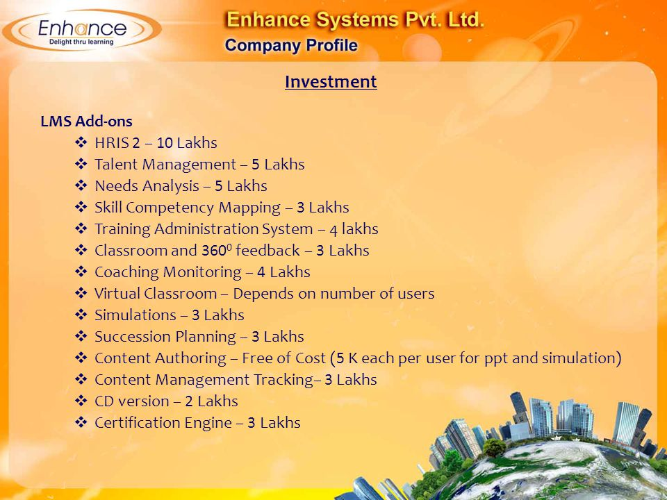 Investment LMS Add-ons HRIS 2 – 10 Lakhs Talent Management – 5 Lakhs