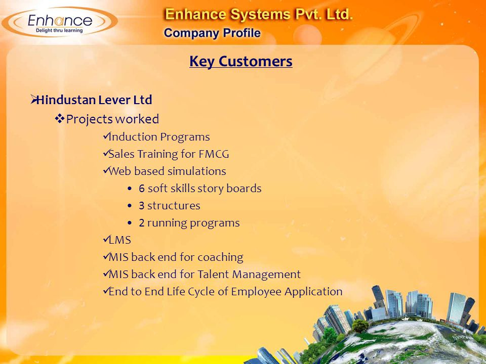 Key Customers Hindustan Lever Ltd Projects worked Induction Programs