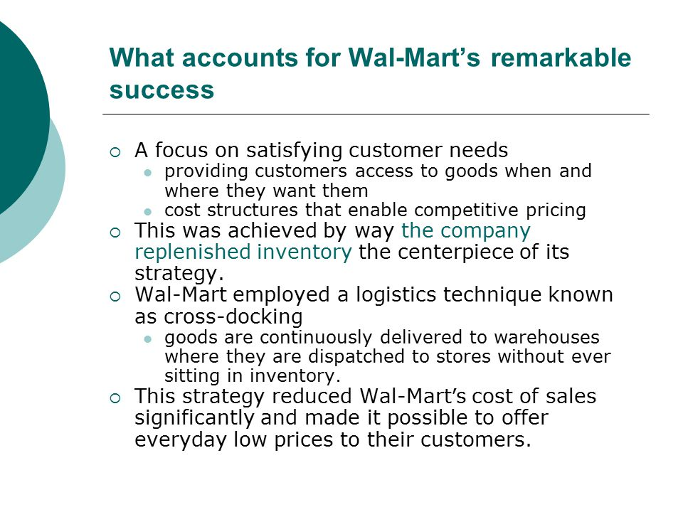 wal mart's strategic competitive success That strategy has helped turn sam's club stores into wal-mart's biggest  at  home with intense competition from online leader amazoncom and dollar  but  the company also knows that it needs to succeed in china, now the.