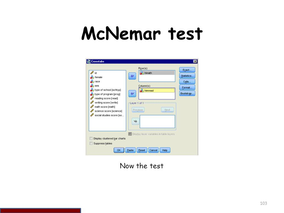 McNemar test Now the test 103