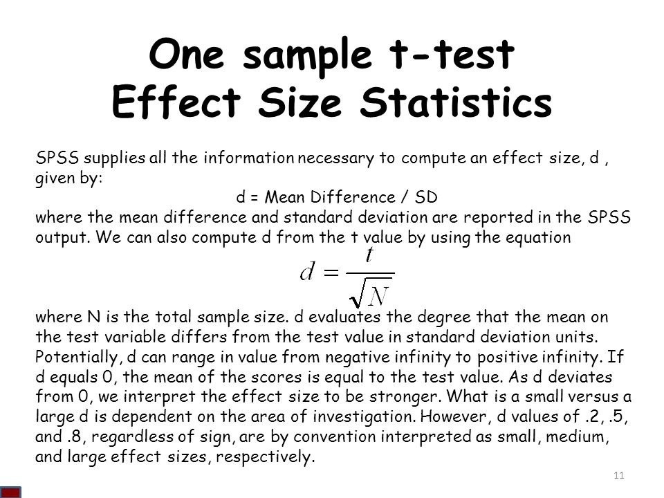 One sample t-test Effect Size Statistics