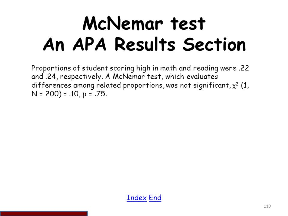 McNemar test An APA Results Section
