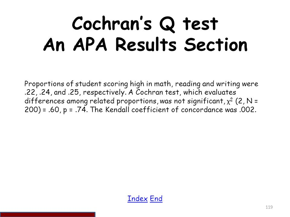 Cochran's Q test An APA Results Section