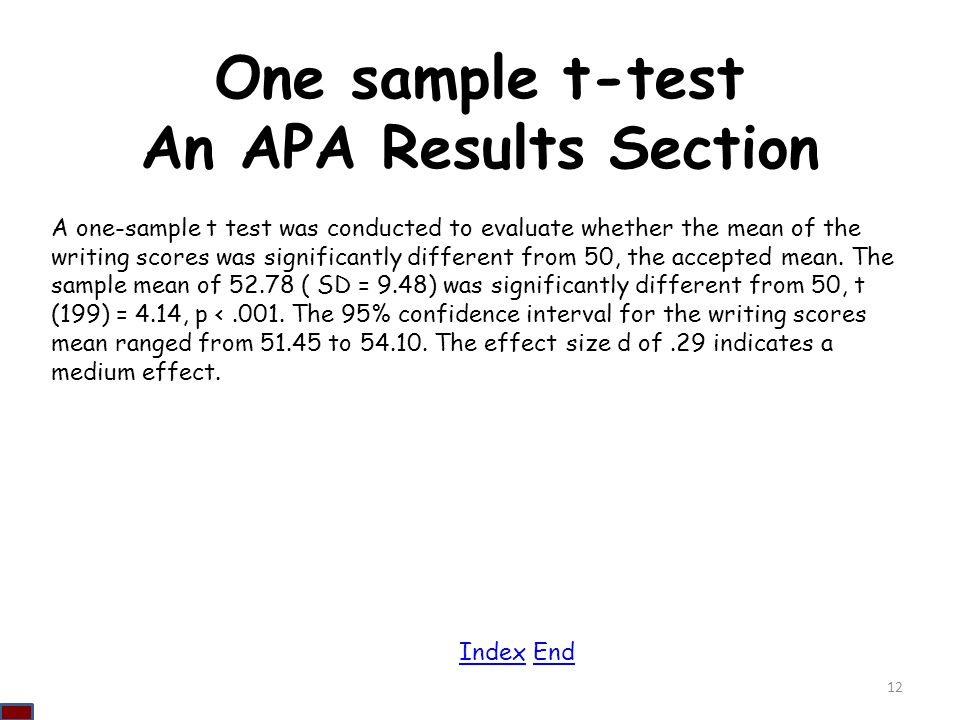 One sample t-test An APA Results Section