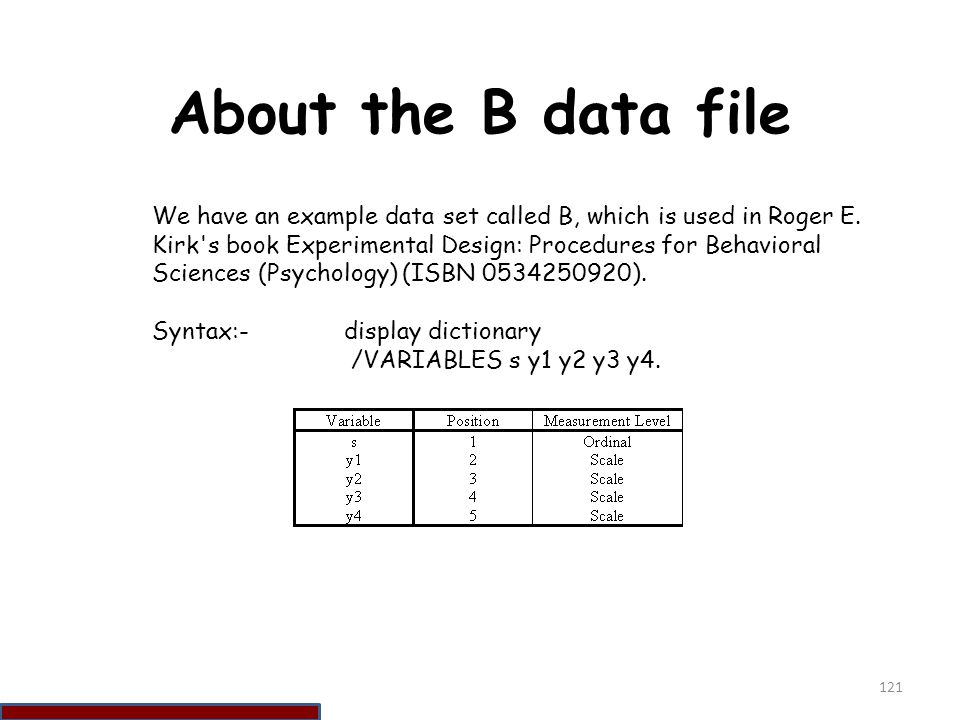 About the B data file