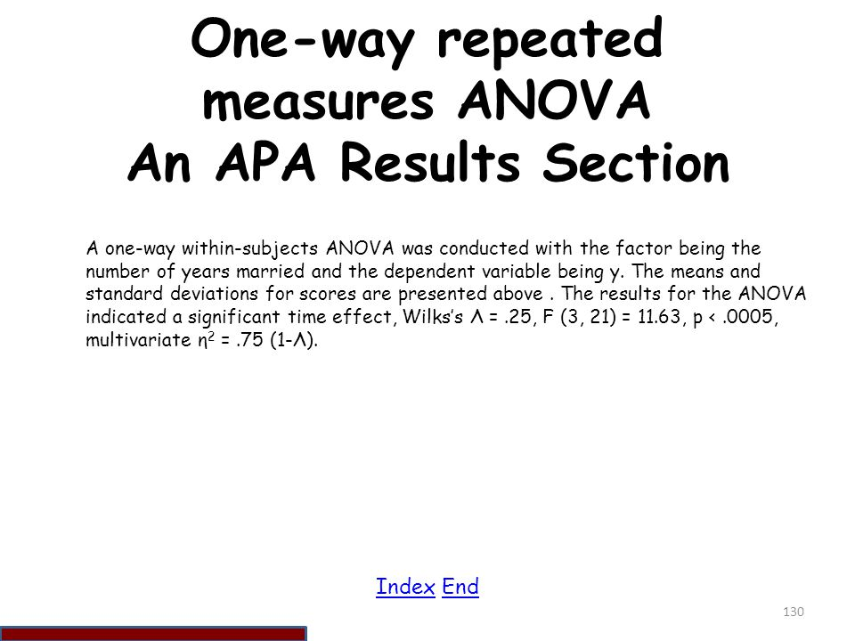 One-way repeated measures ANOVA An APA Results Section