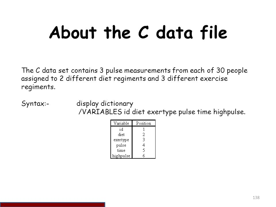About the C data file