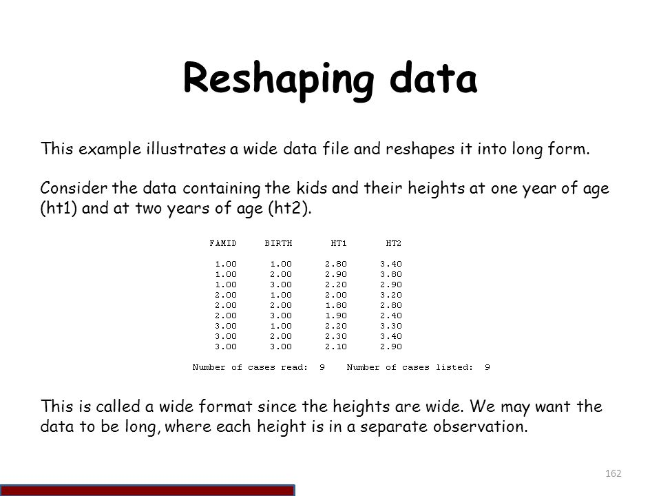 Reshaping data This example illustrates a wide data file and reshapes it into long form.