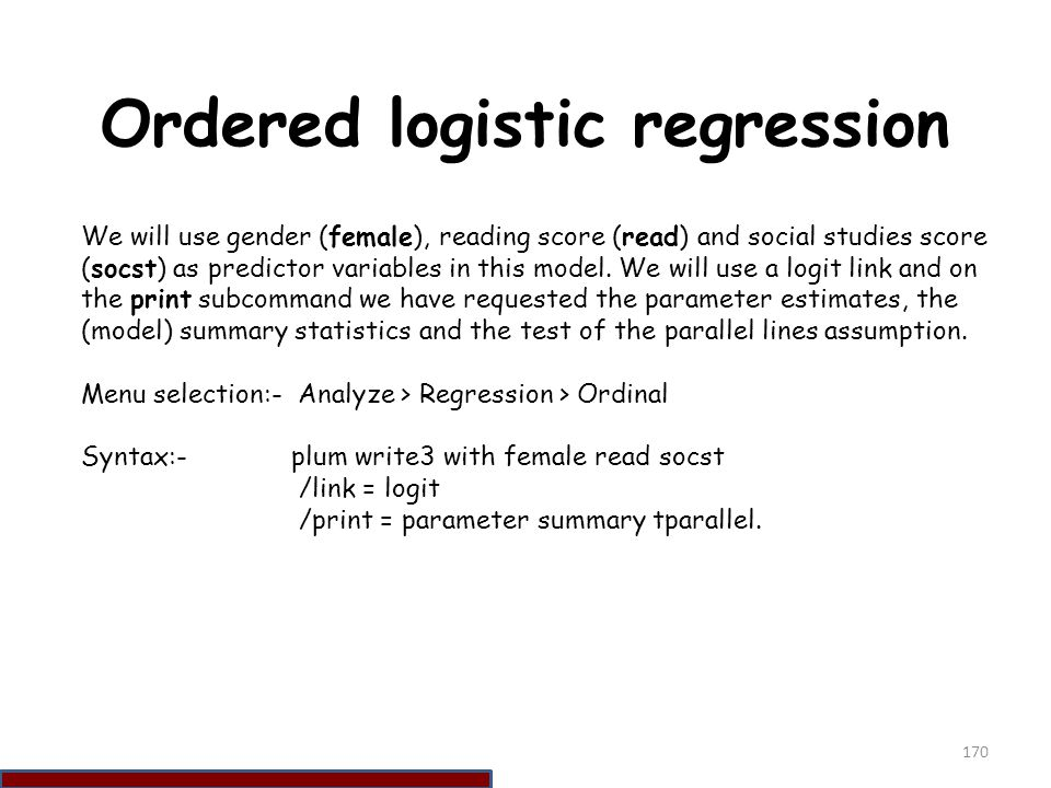 Ordered logistic regression