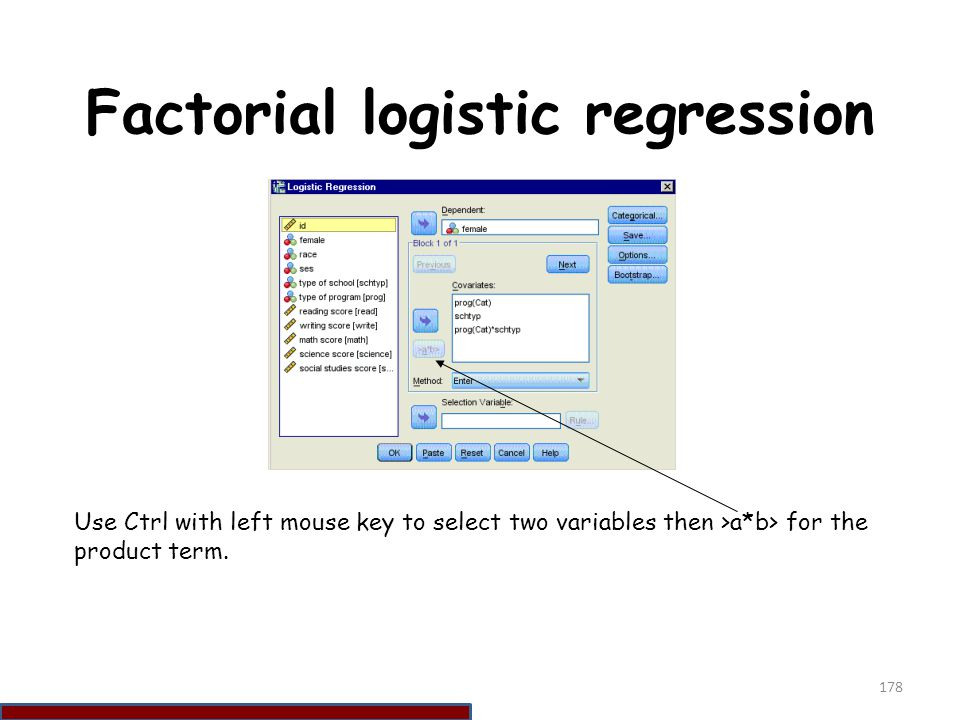 Factorial logistic regression