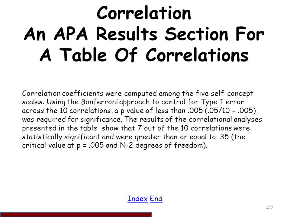 Correlation An APA Results Section For A Table Of Correlations