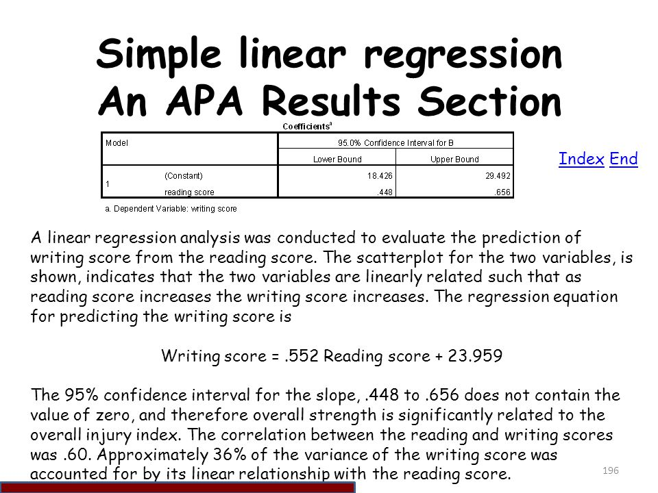Simple linear regression An APA Results Section
