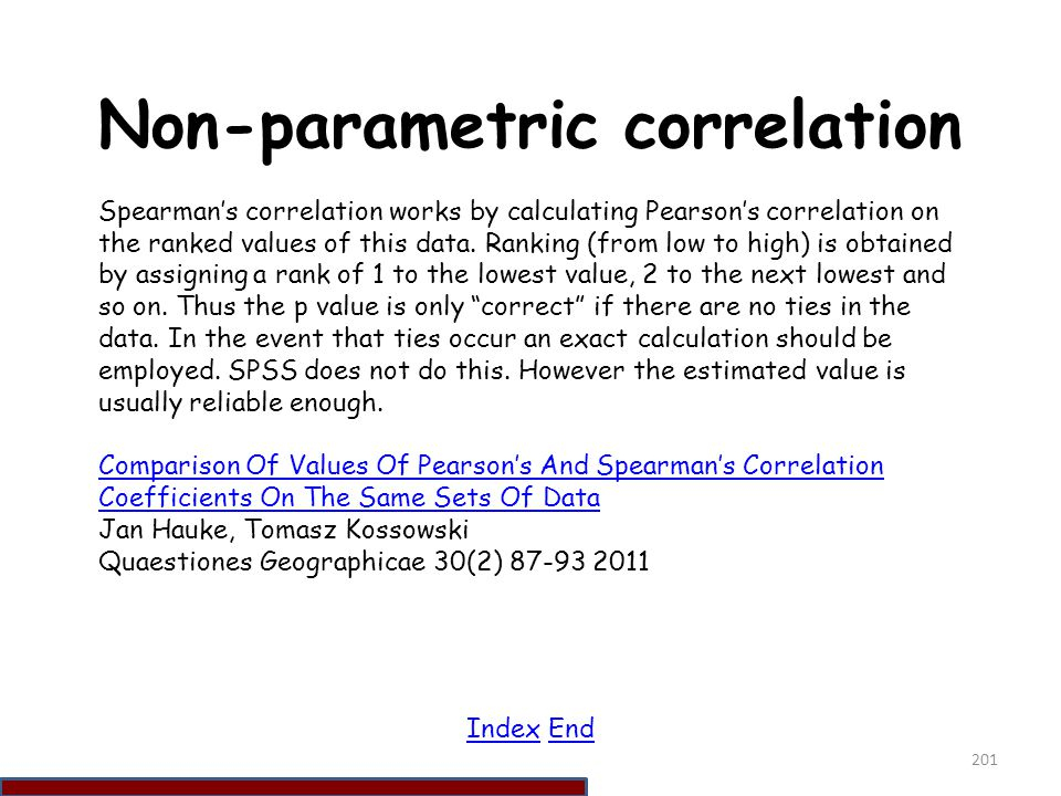 Non-parametric correlation