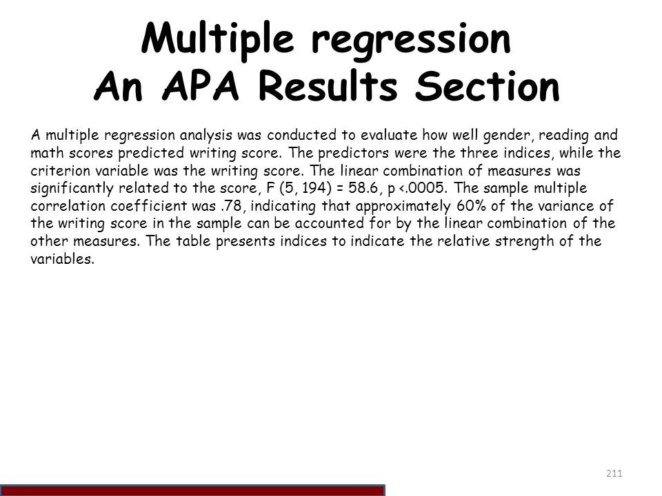 Multiple regression An APA Results Section