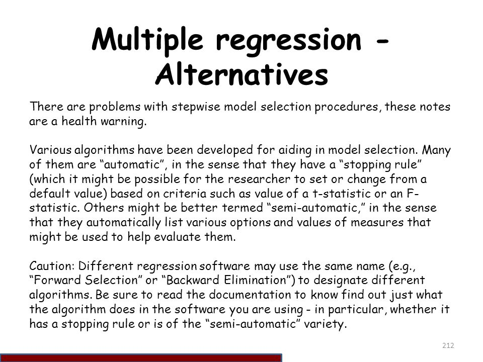 Multiple regression - Alternatives