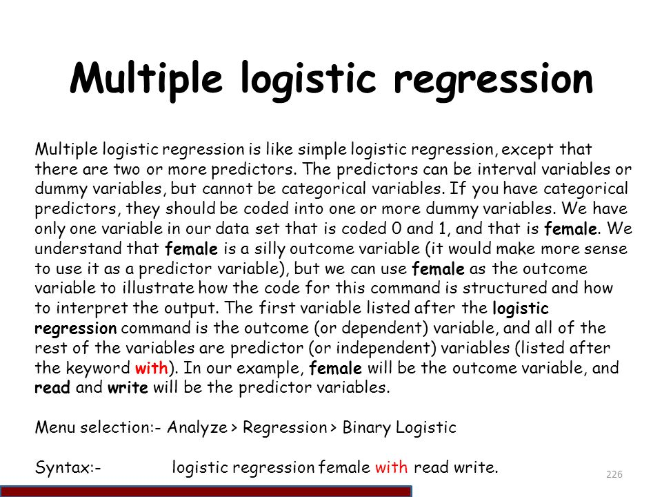 Multiple logistic regression