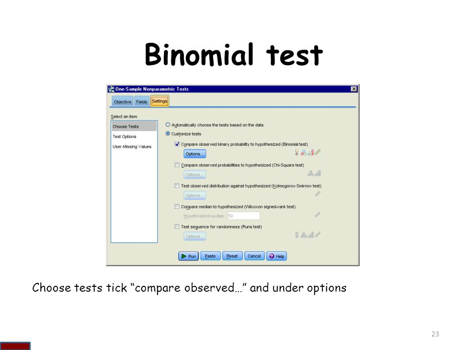 Binomial test Choose tests tick compare observed… and under options