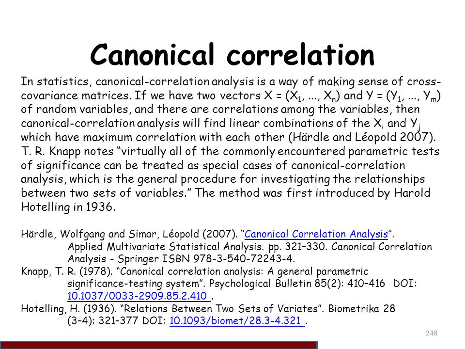 Canonical correlation