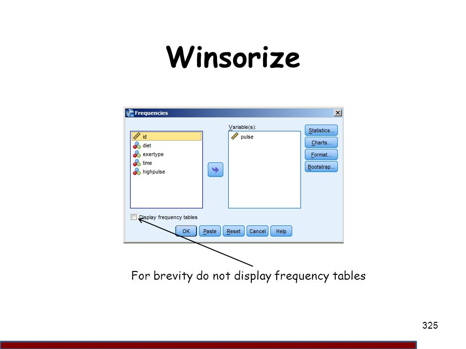 Winsorize For brevity do not display frequency tables 325