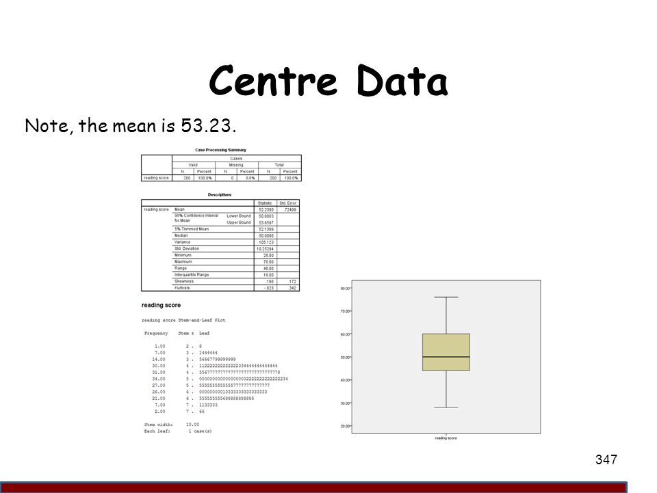 Centre Data Note, the mean is 53.23. 347
