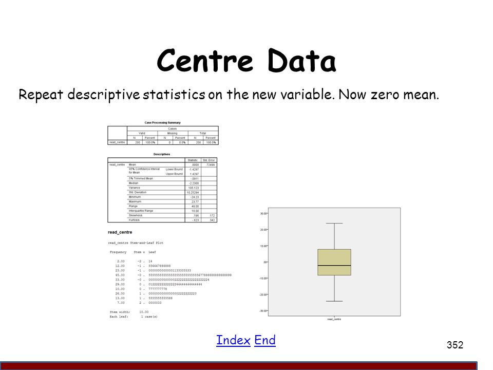 Centre Data Repeat descriptive statistics on the new variable. Now zero mean. Index End 352
