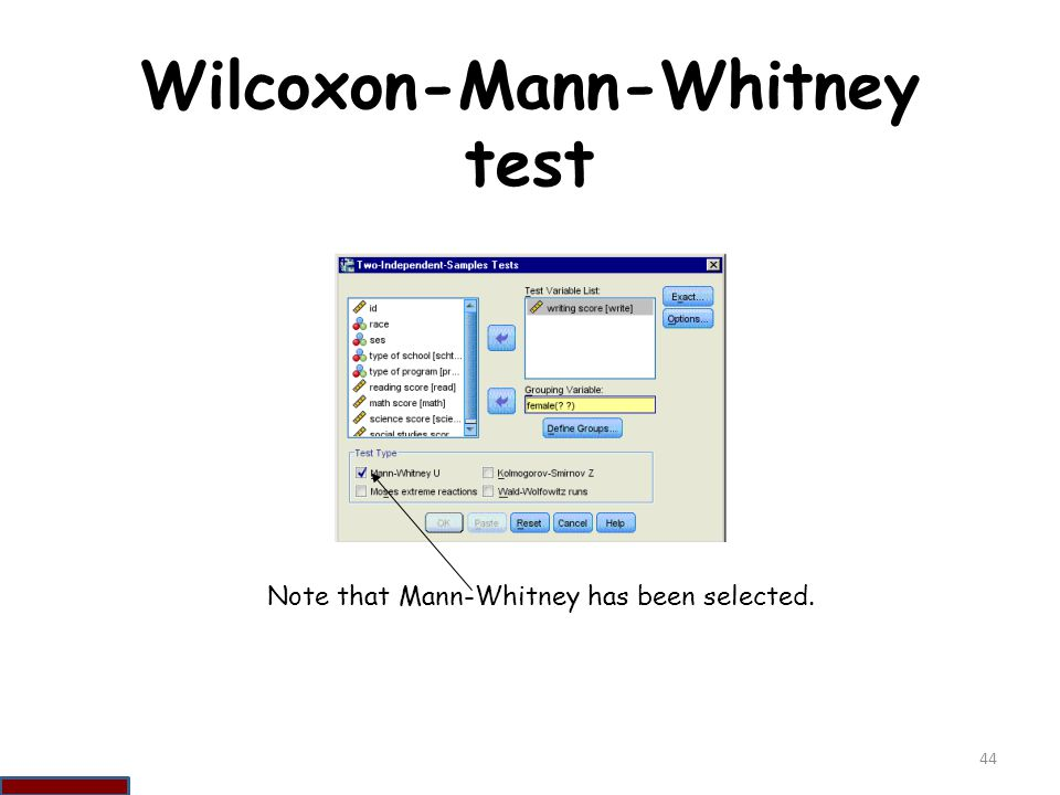 Wilcoxon-Mann-Whitney test