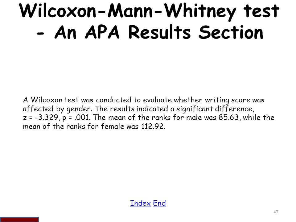 Wilcoxon-Mann-Whitney test - An APA Results Section