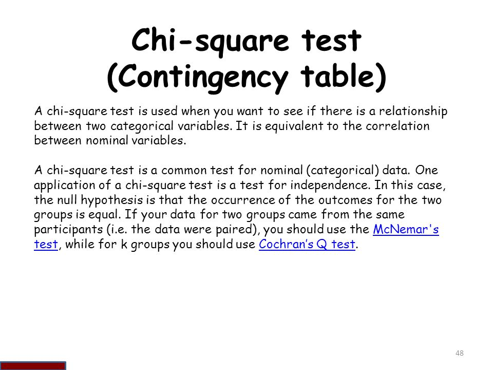 Chi-square test (Contingency table)