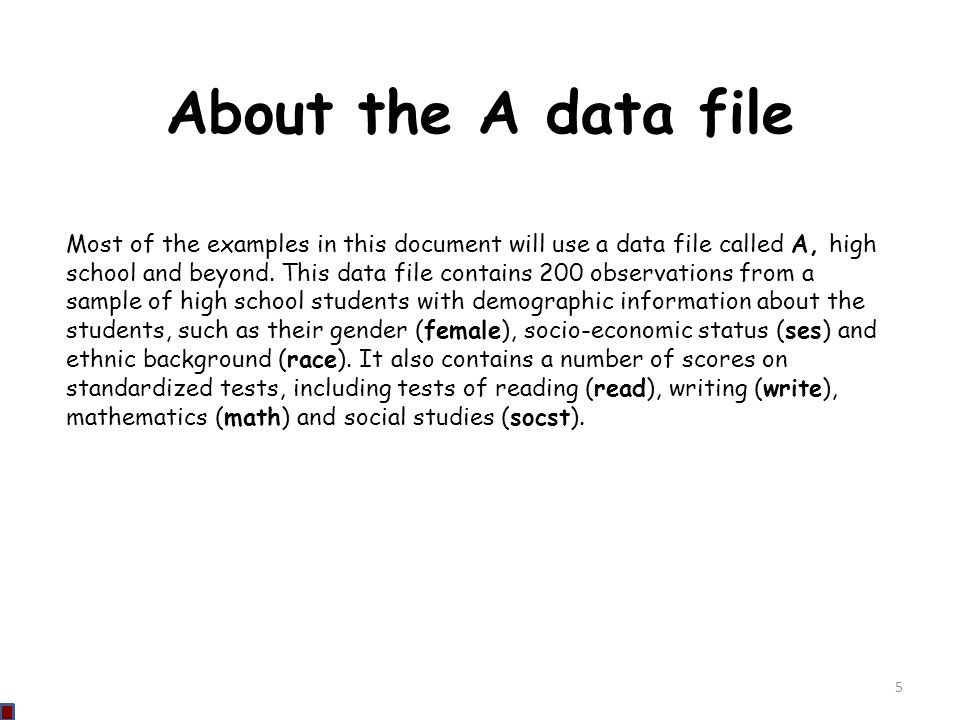 About the A data file