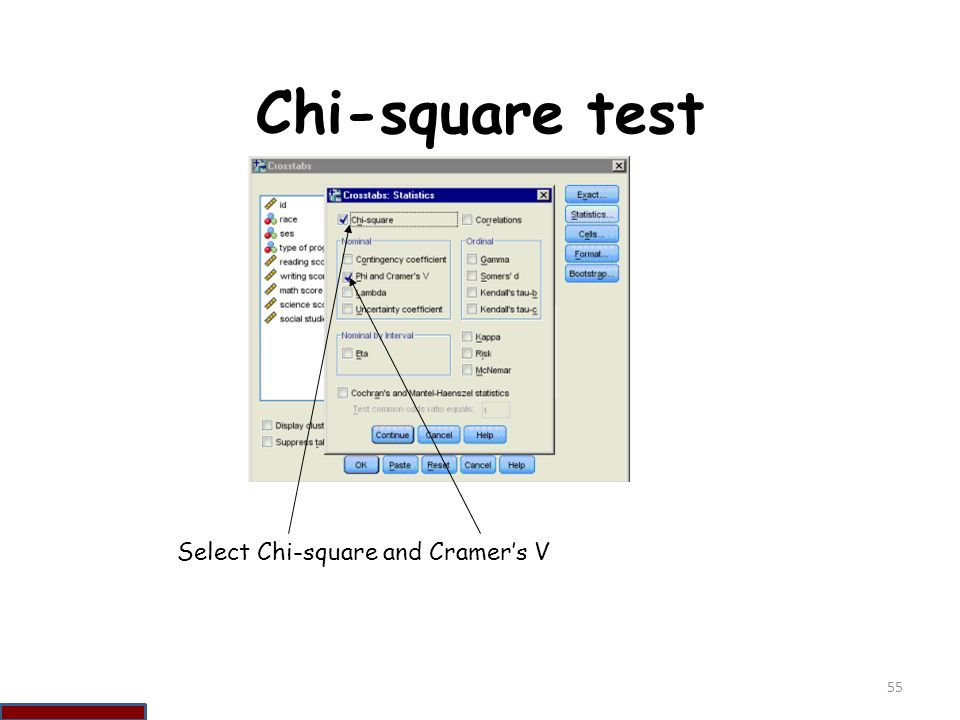 Chi-square test Select Chi-square and Cramer's V 55