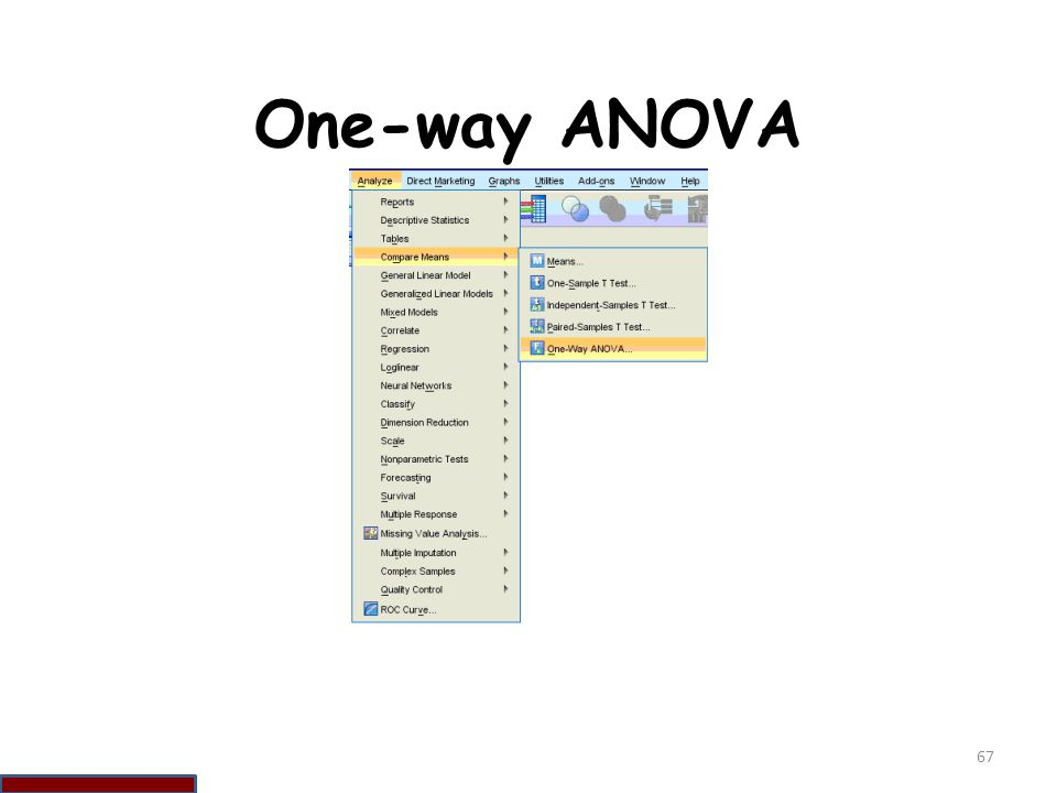 One-way ANOVA 67