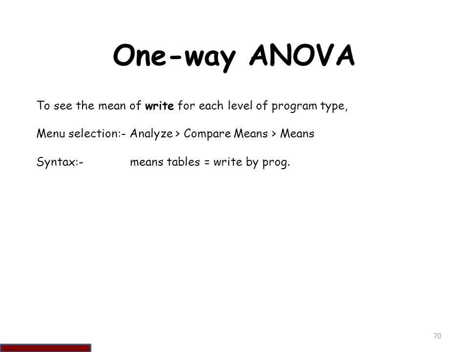 One-way ANOVA To see the mean of write for each level of program type,
