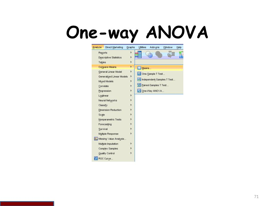One-way ANOVA 71