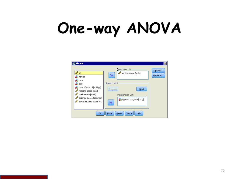 One-way ANOVA 72