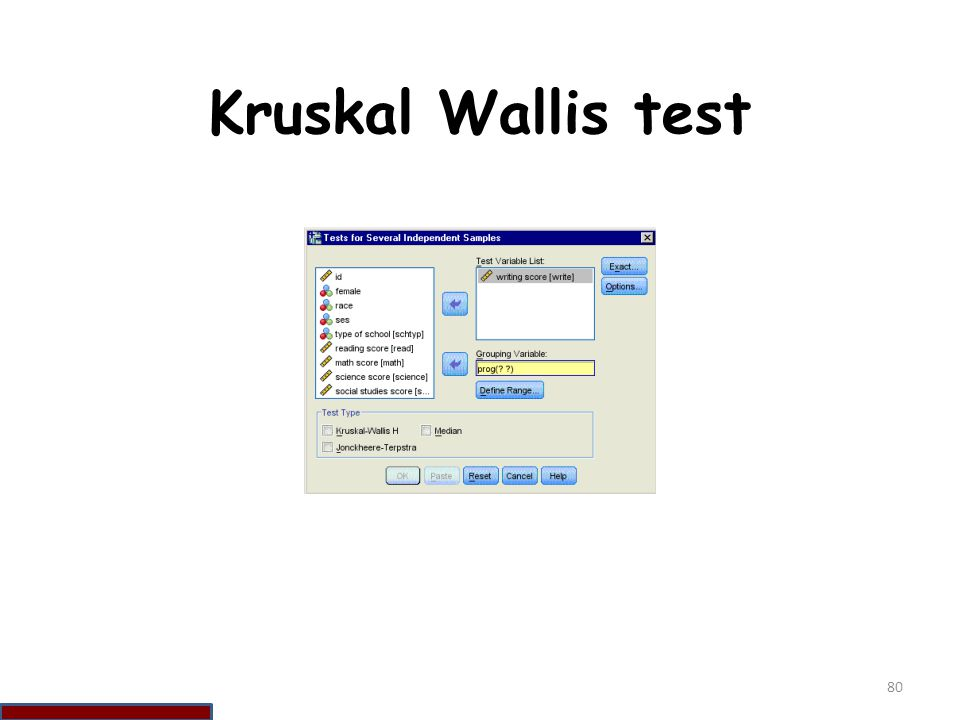 Kruskal Wallis test 80