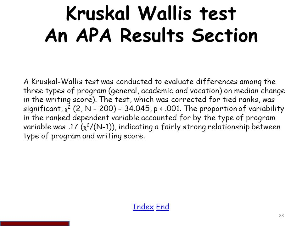 Kruskal Wallis test An APA Results Section
