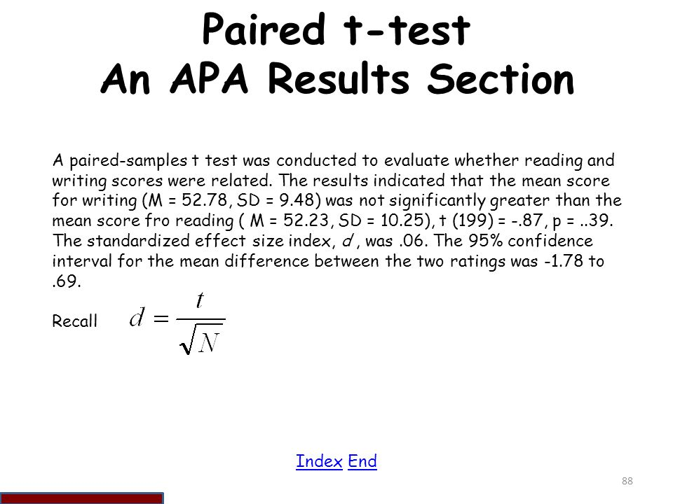 Paired t-test An APA Results Section