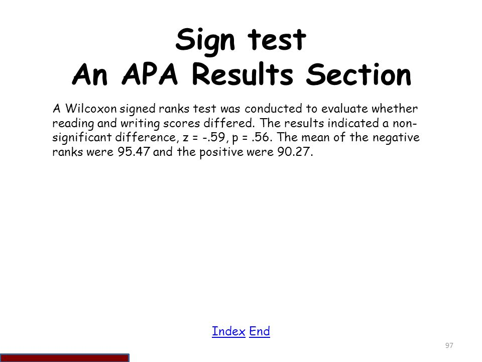 Sign test An APA Results Section