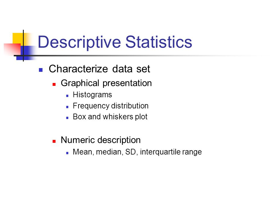 descriptive statistics analysis Descriptive statistics can be used to summarize the data if your data is categorical, try the frequencies or crosstabs procedures if your data is scale level, try summaries or descriptives if you have multiple response questions, use multiple response sets.