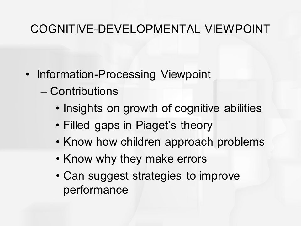 insight for the cognitive development New insights in early childhood brain development which is responsible for higher cognitive many neural connections pass through a period during development.