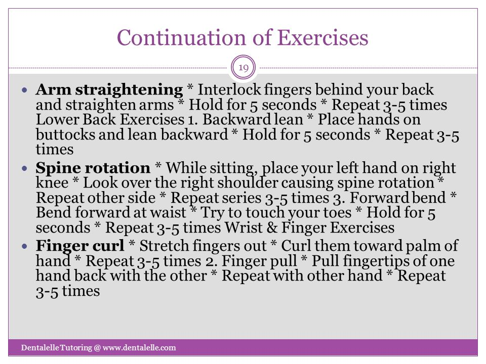 Continuation of Exercises