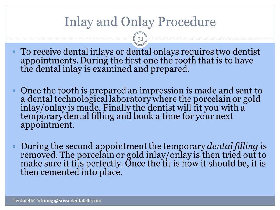 Inlay and Onlay Procedure