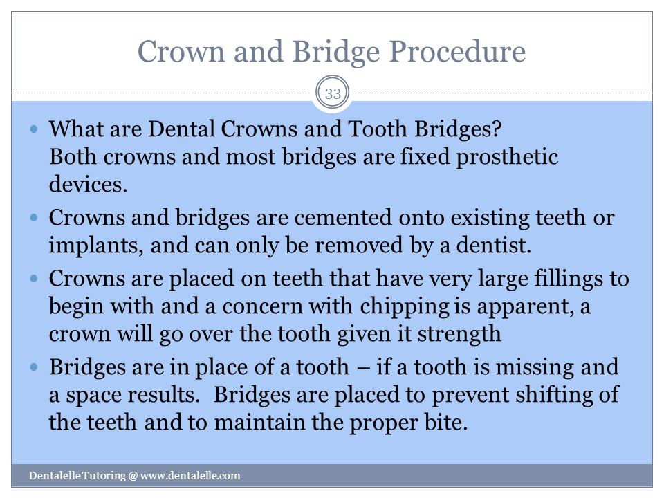 Crown and Bridge Procedure