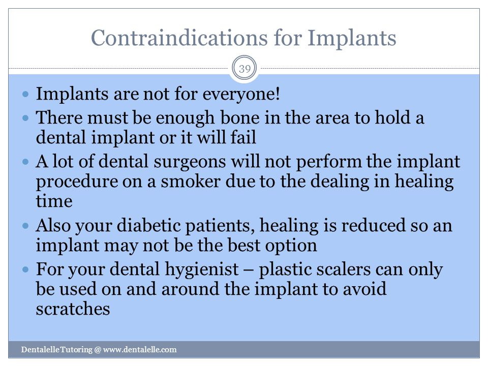 Contraindications for Implants